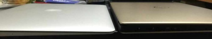 XPS13とMacBook Air13の薄さ比較