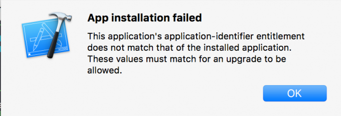 App installation failed