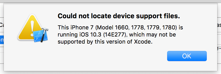 Could not locate device support files.