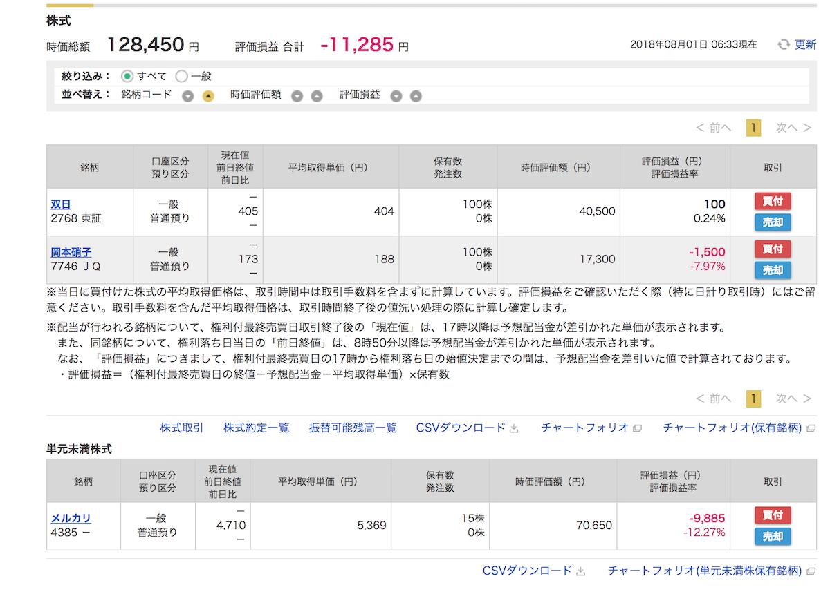 株式投資結果2018年7月