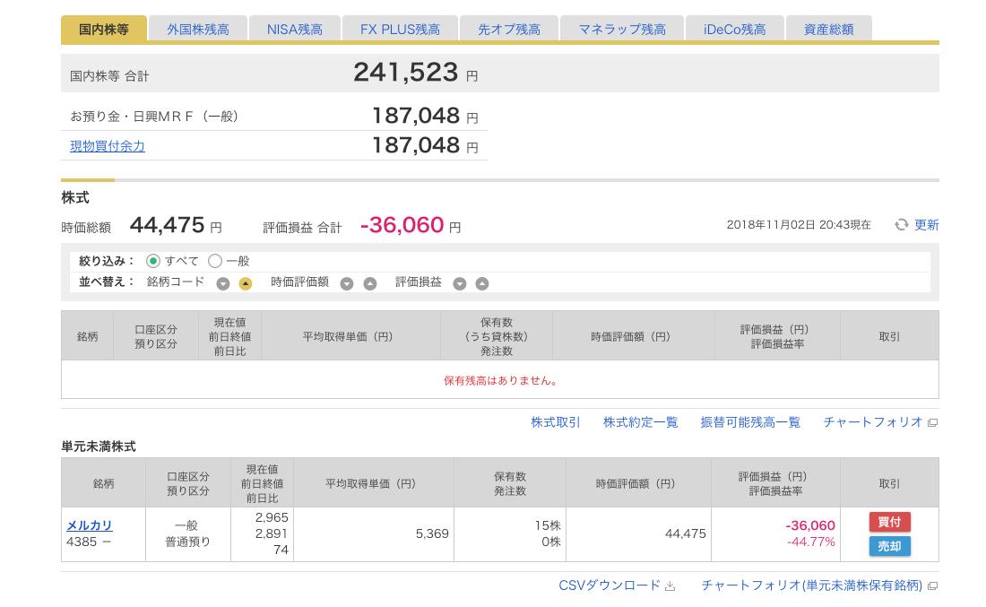 株式投資結果2018年10月